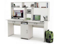 Письменный стол для двоих Лайт-10Я с надстройкой
