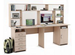 Письменный стол для двоих Лайт-14 с надстройкой