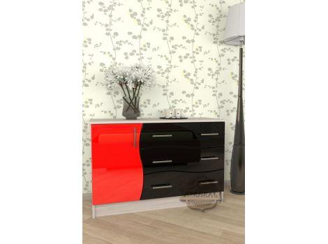 Комод Мебелеф 18 красно-черный