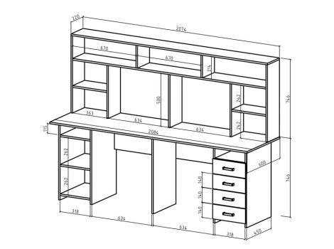 Письменный стол для двоих Лайт-13 с надстройкой