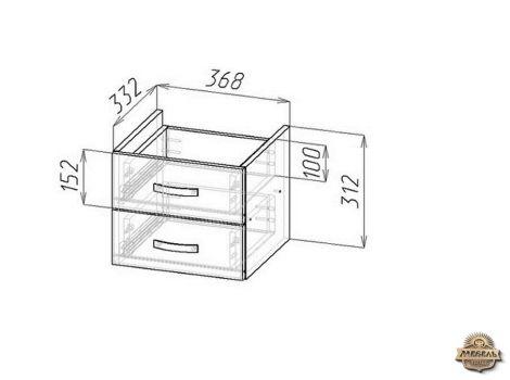 Блок ящиков для стеллажа Либерти малый схема