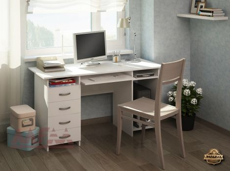 Стол белый компьютерный Милан-6П