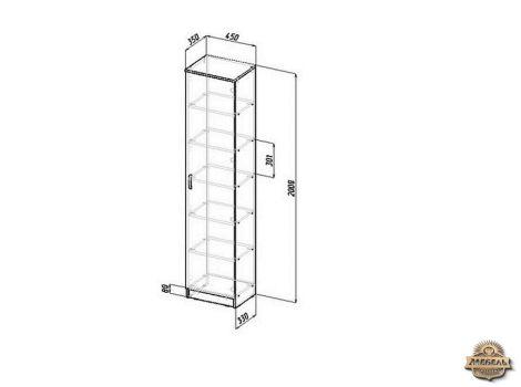Шкаф распашной Ш-1 узкий Схема
