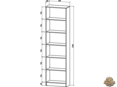 Книжный шкаф 600 Верона-1 высота схема