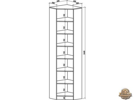 Книжный шкаф угловой Верона-1 высота2400