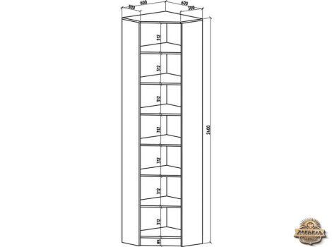 Книжный шкаф угловой Верона-2 высота 2400