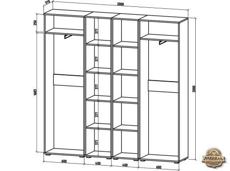 Шкаф Тунис-10 (ШТ-4П + ШТ-2Б+ ШТ-2Б + ШТ-4П)