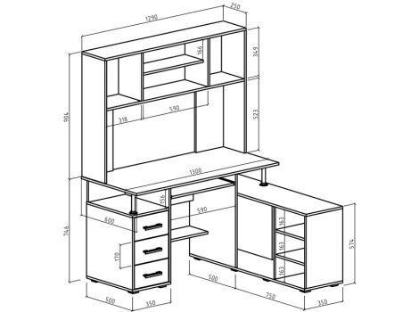 Компьютерный стол Амбер-24 схема
